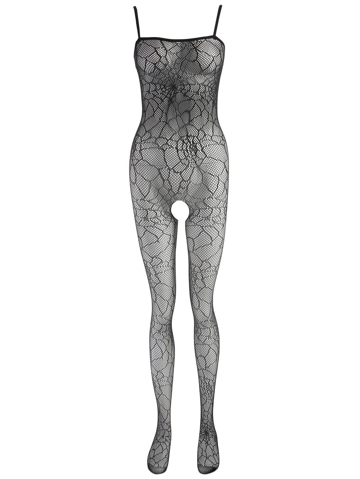 Fishnet Crotchless Slip Bodystockings - BLACK ONE SIZE