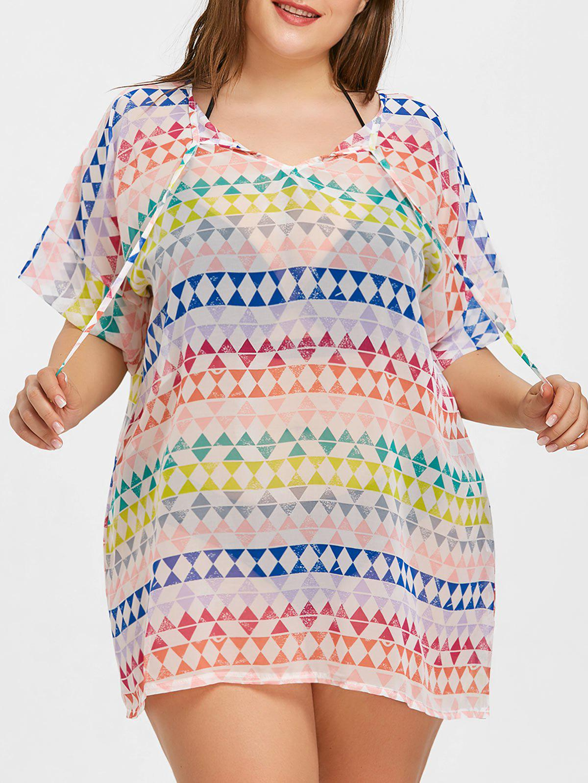 Chiffon Plus Size Beach Cover Up bohemia ethnic printed beach chiffon cover up