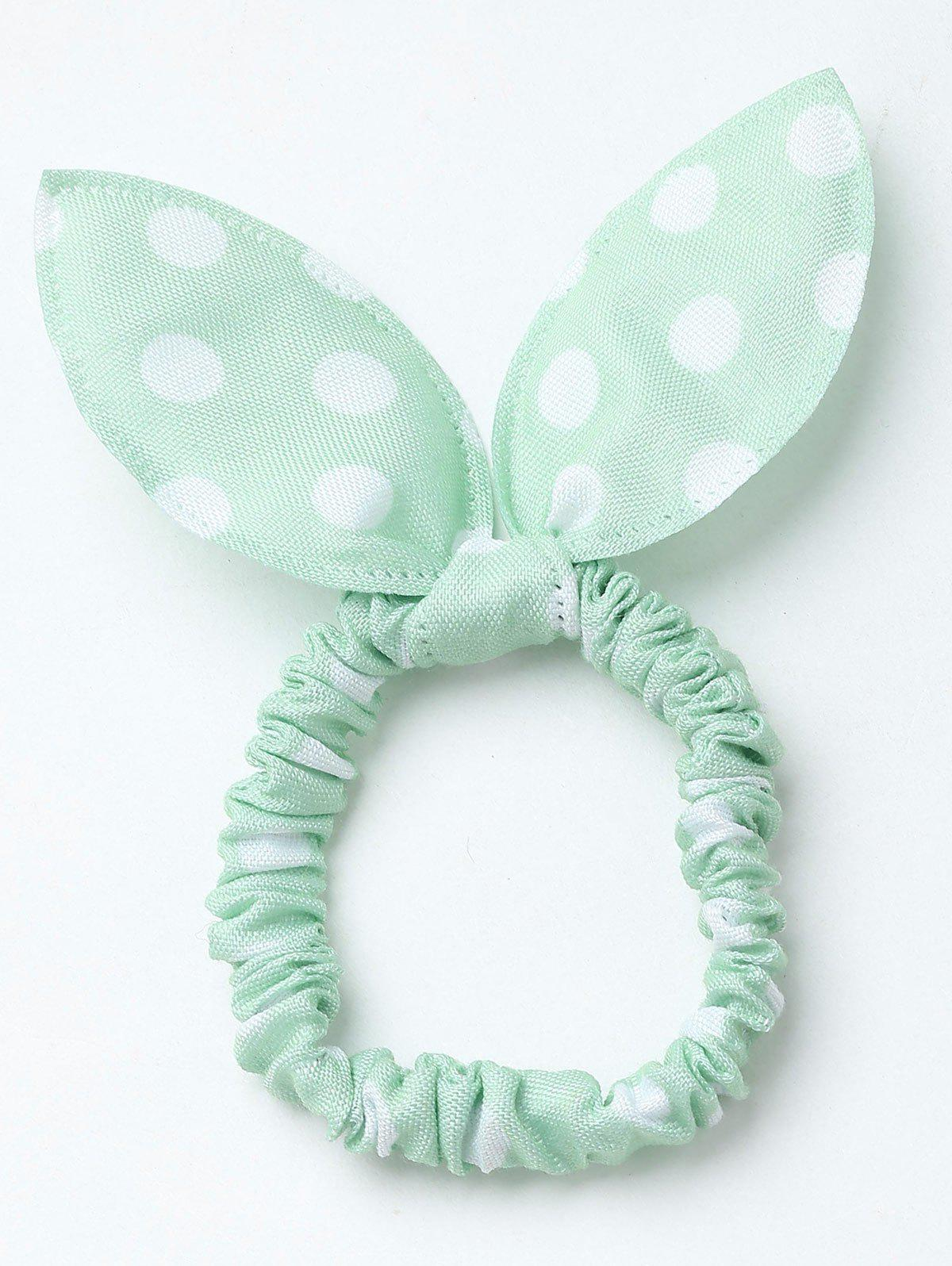 Polka Dot Bowknot Elastic Hair Band - GREEN