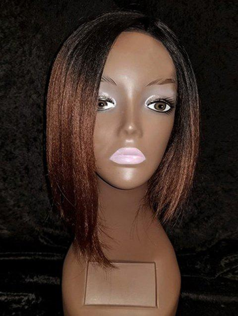 Ombre Short Side Parting Straight Bob Synthetic Wig - GRADIENT COLOR
