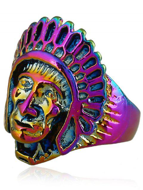 Punk Alloy Indian Chief Tribal Head Ring - COLORMIX ONE-SIZE