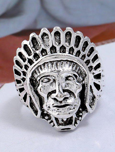 Punk Alloy Indian Chief Tribal Head Ring - SILVER ONE-SIZE