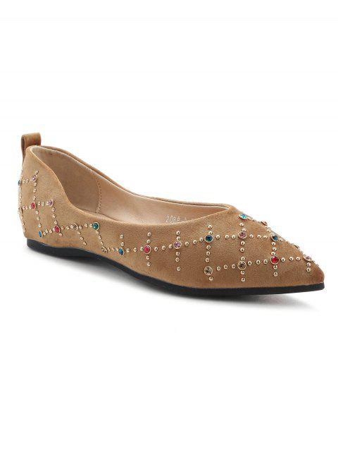 Pointed Toe Rivets Flats - Kaki 38