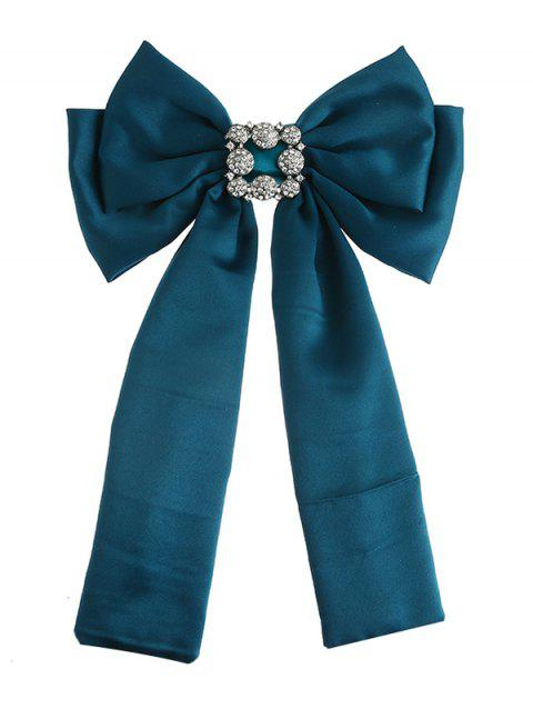 Retro Double-layer Inlaid Artificial Gems Bowknot Corsage Brooch - GREEN