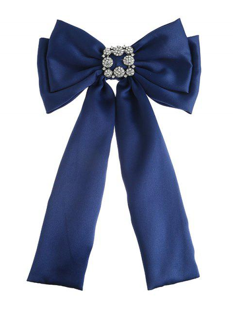 Retro Double-layer Inlaid Artificial Gems Bowknot Corsage Brooch - BLUE