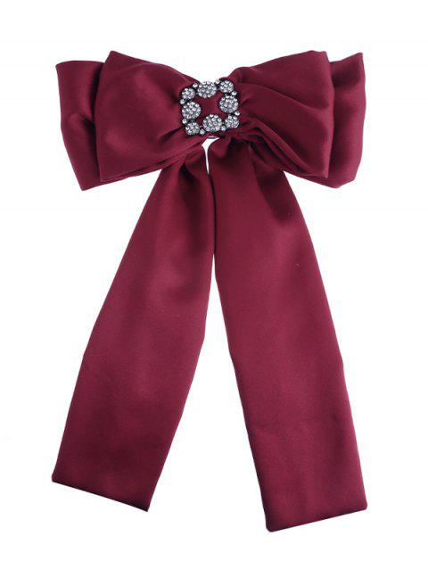 Retro Double-layer Inlaid Artificial Gems Bowknot Corsage Brooch - RED