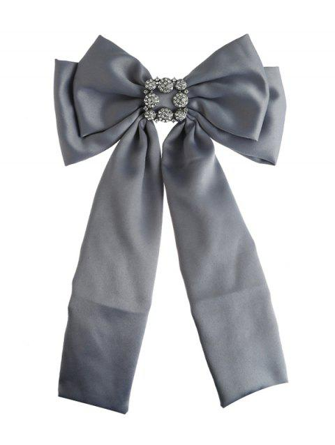 Retro Double-layer Inlaid Artificial Gems Bowknot Corsage Brooch - GRAY