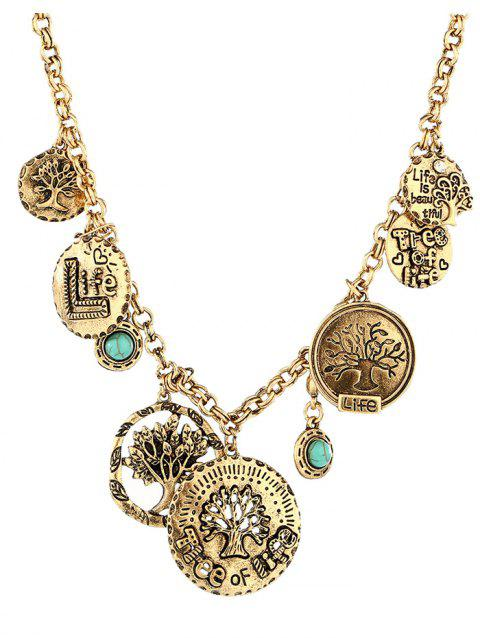 Alloy Round Coins Carved Tree Pendant Necklace - GOLDEN