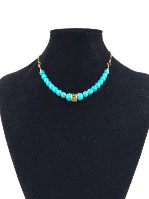 Alloy Faux Turquoise Carved Hoop Chain Pendant Necklace - GOLDEN