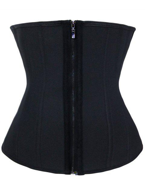 Plus Size Zip Up Steel Boned Trainer Corset - BLACK 2XL