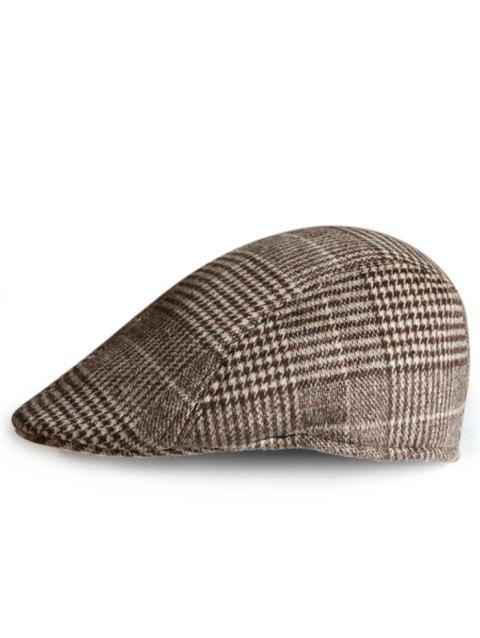 Tartan Pattern Embellished Cabbie Hat - CAPPUCCINO