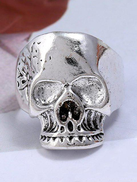 Retro Plated Evil Skull Alloy Biker Ring - SILVER ONE-SIZE