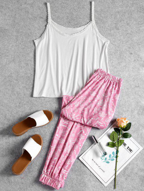 Cami Top and Floral Pants Sleep Set - WHITE M