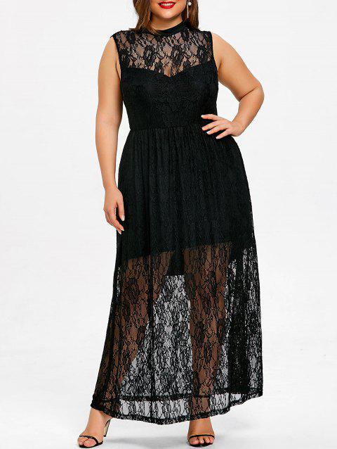 f93d8e7bdc9db Plus Size Sleeveless Sheer Lace Maxi Dress