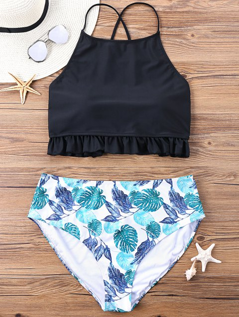 Plus Size Lace Up Flounced Tropical Print Bikini Set - COLORMIX 4XL