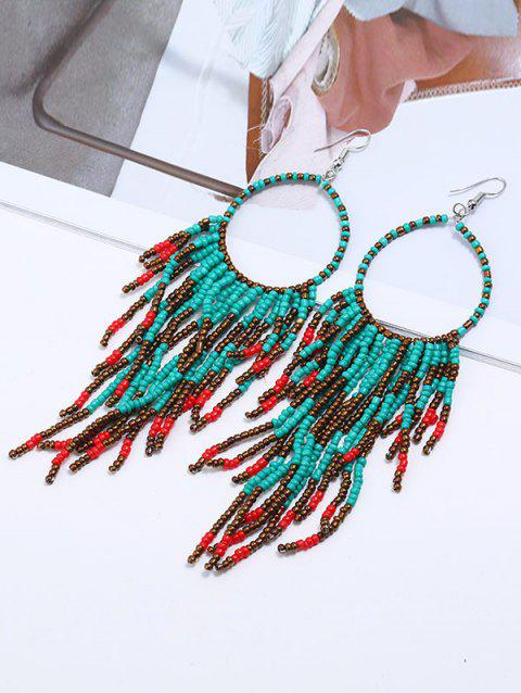 Circle Bead Purl Hook Drop Earrings - COLORMIX