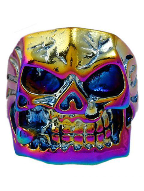 Plated Square Face Skull Metal Punk Biker Ring - COLORMIX ONE-SIZE