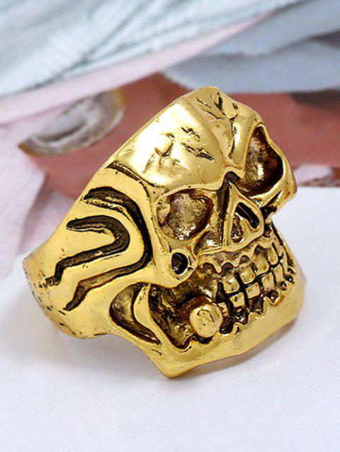 Plated Square Face Skull Metal Punk Biker Ring - GOLDEN ONE-SIZE