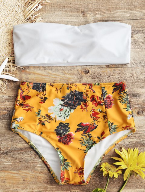 Strapless Floral High Rise Bathing Suit