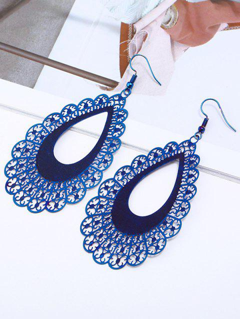Stainless Steel Carved Hollow Out Teardrop Dangle Earrings - BLUE