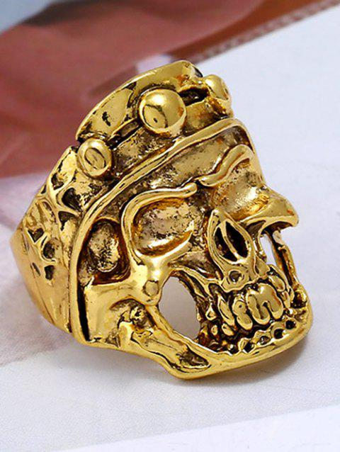 Retro Carved Skull Plated Metal Biker Ring - GOLDEN ONE-SIZE