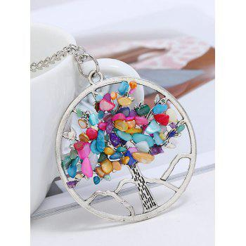 Round Rainbow Stone Ornamental Pendant Necklace - COLORMIX