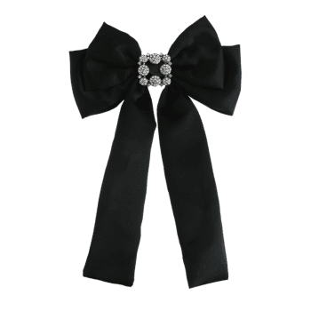 Retro Double-layer Inlaid Artificial Gems Bowknot Corsage Brooch - BLACK