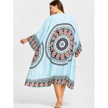 Tribal Pattern Plus Size Beach Cover Up - LIGHT BLUE ONE SIZE
