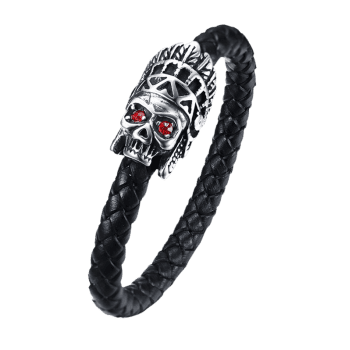 Indian Ghost Head Decorated Leather Bracelet - BLACK