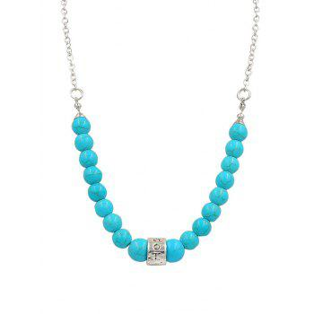 Alloy Faux Turquoise Carved Hoop Chain Pendant Necklace - SILVER