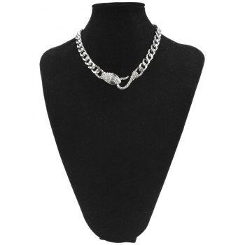 Chunky Snake Head Link Chain Alloy Pendant Necklace - SILVER