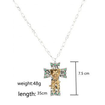 Star Carved Cross Faux Turquoise Alloy Pendant Necklace - SILVER