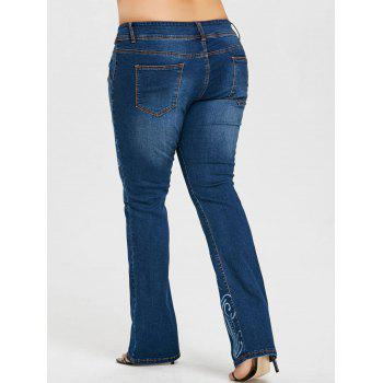 Plus Size Printed Flare Jeans - DENIM BLUE 3XL