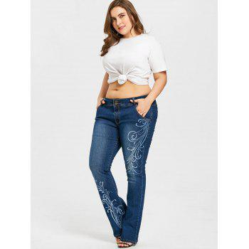 Plus Size Printed Flare Jeans - DENIM BLUE 4XL