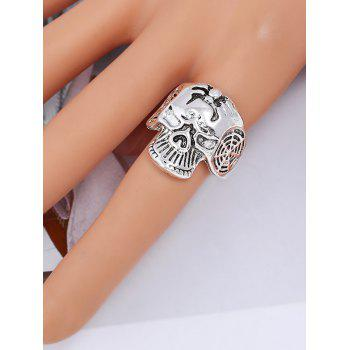 Retro Skull Carved Metal Biker Ring - SILVER ONE-SIZE