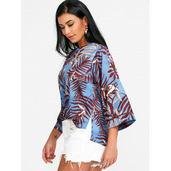 Leaf Print High Low Blouse - COLORMIX S