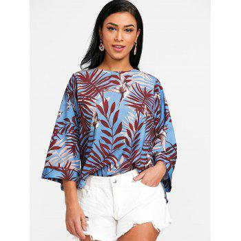 Leaf Print High Low Blouse - COLORMIX L