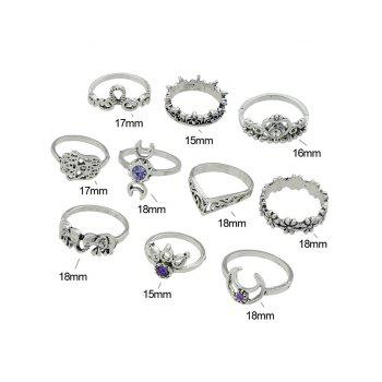 Rhinestone Moon Heart Elephant Flower Ring Set - SILVER ONE-SIZE
