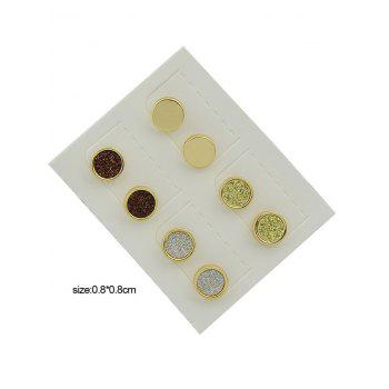 Simple Alloy Round Stud Earring Set - GOLDEN