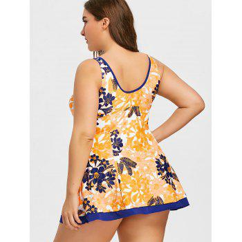 Floral Print Plus Size Skirted Tankini - EARTHY 3XL