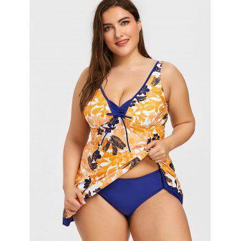 Floral Print Plus Size Skirted Tankini - EARTHY 2XL