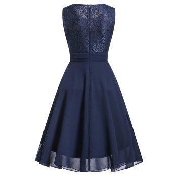 Lace Trim Flare Party Dress - DEEP BLUE XL