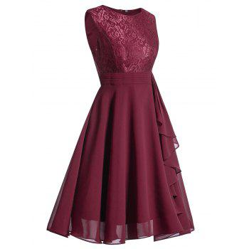 Lace Trim Flare Party Dress - WINE RED M