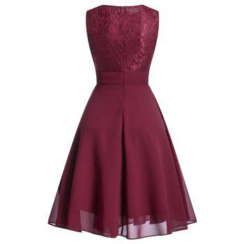 Lace Trim Flare Party Dress - WINE RED XL