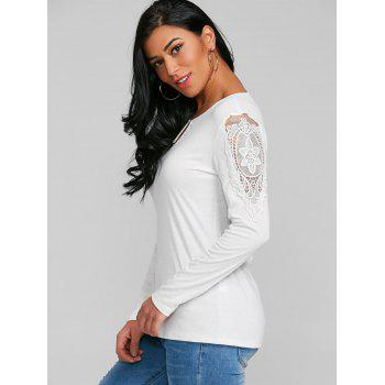 Lace Patchwork Keyhole T-shirt - WHITE S