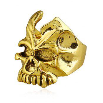 Retro Metallic Skull Embellished Ring - GOLDEN ONE-SIZE