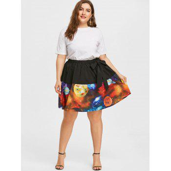 Plus Size A-line Galaxy Planet Print Skirt - COLORMIX 4XL