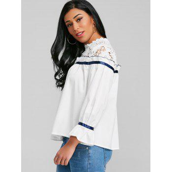 Lace Panel Ruffle Blouse - WHITE XL