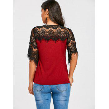 Openwork Crochet Lace Panel T-shirt - WINE RED XL