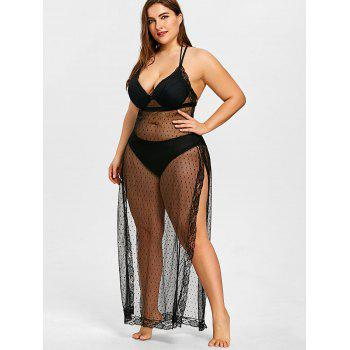 Plus Size Sheer Slit Long Cover Up - BLACK XL